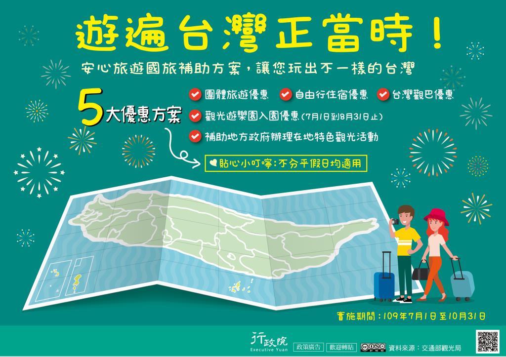 行政院「安心旅遊國旅補助方案」政策溝通電子單張文宣