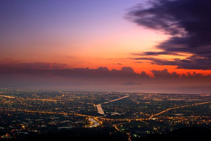 蘭陽平原黃昏景色
