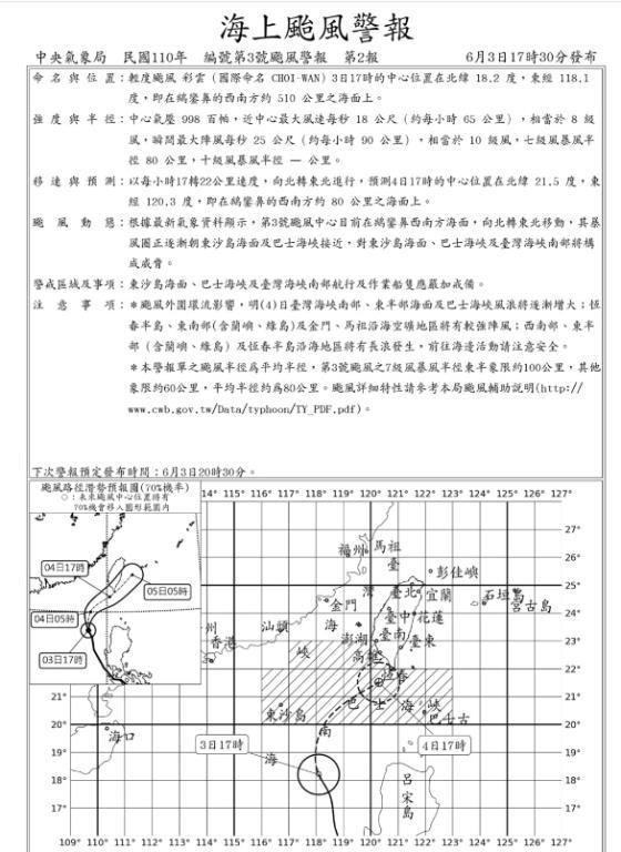 中央氣象局海上颱風通知