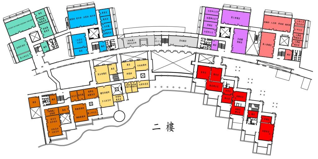 主計處位置於縣府2樓6區,在圖的左上方。