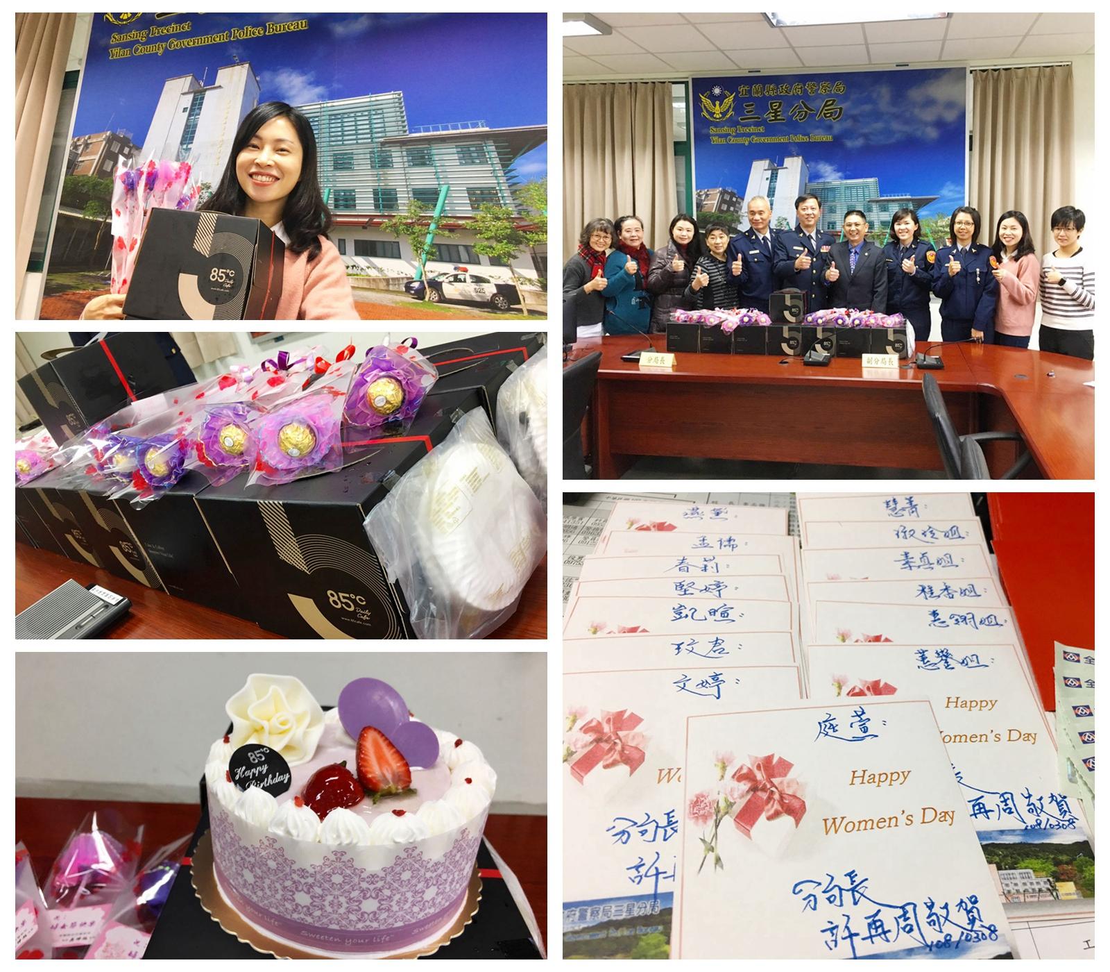 分局長代表局長致贈康乃馨及蛋糕 祝賀女性同仁母親節快樂