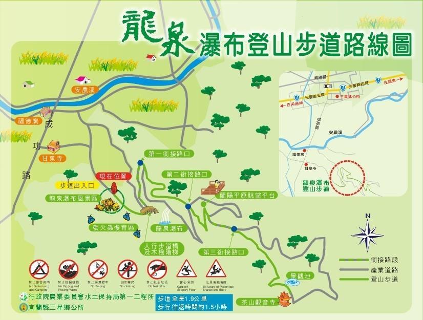 龍泉瀑布登山步道路線圖