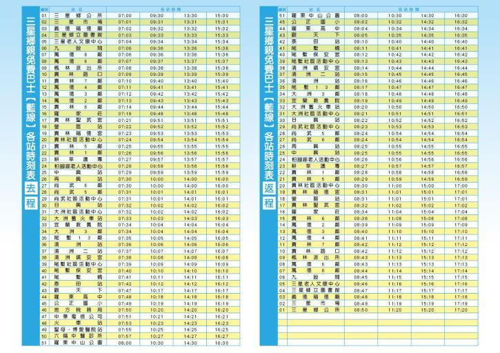 三星鄉免費巴士藍線路線圖-2