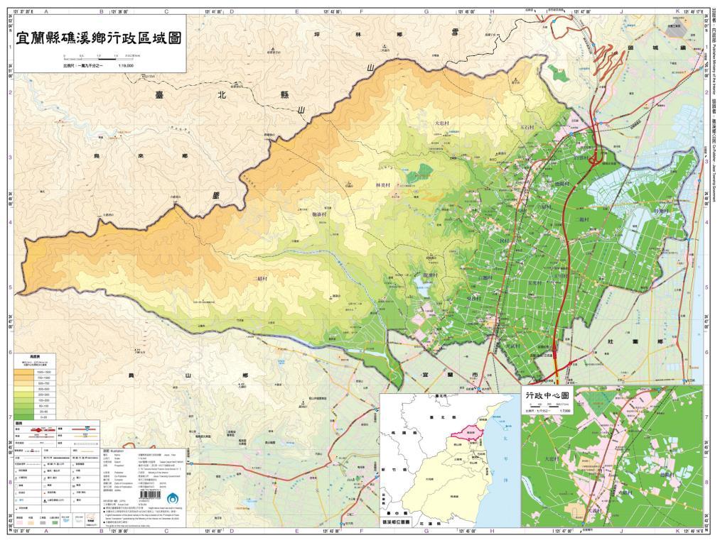 礁溪鄉行政區域圖