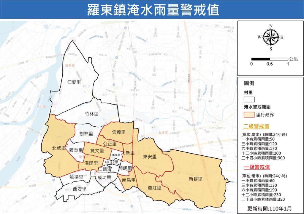 羅東鎮淹水雨量警戒值