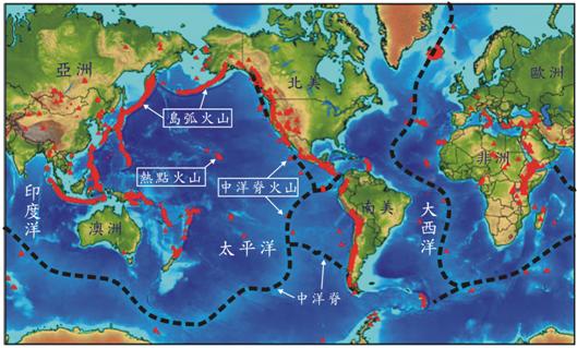 圖:全球火山分佈(紅色三角)
