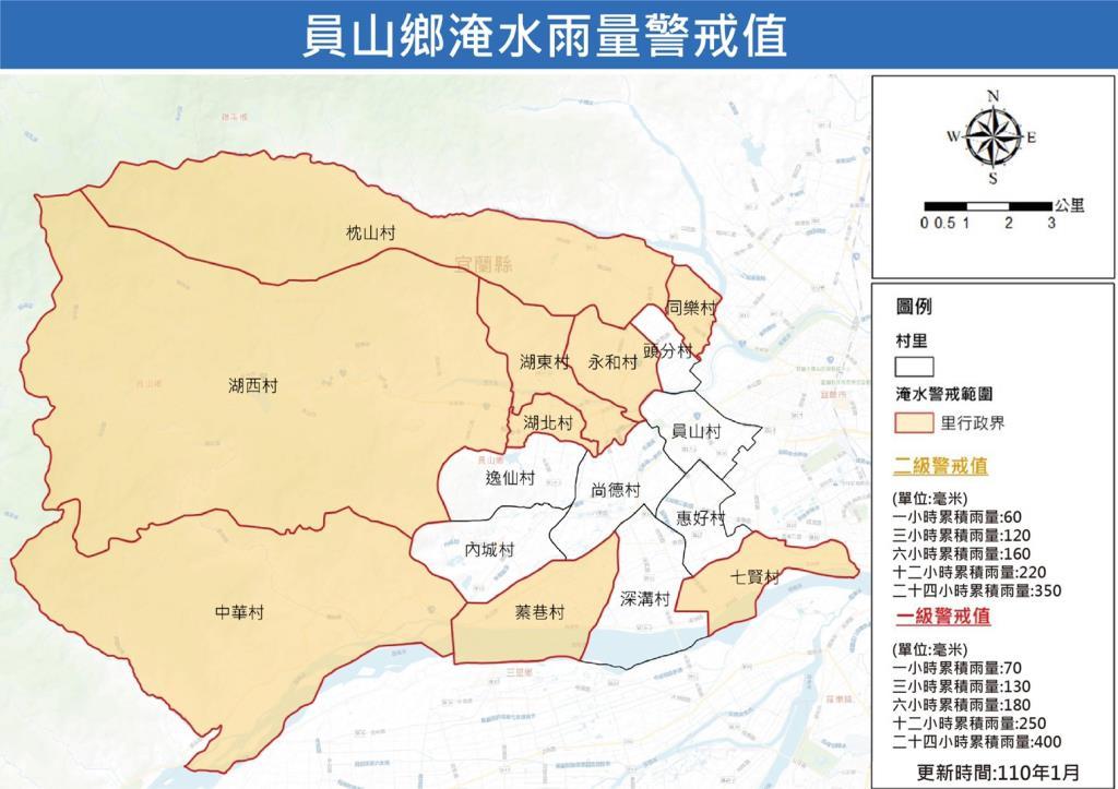 員山鄉淹水雨量警戒值