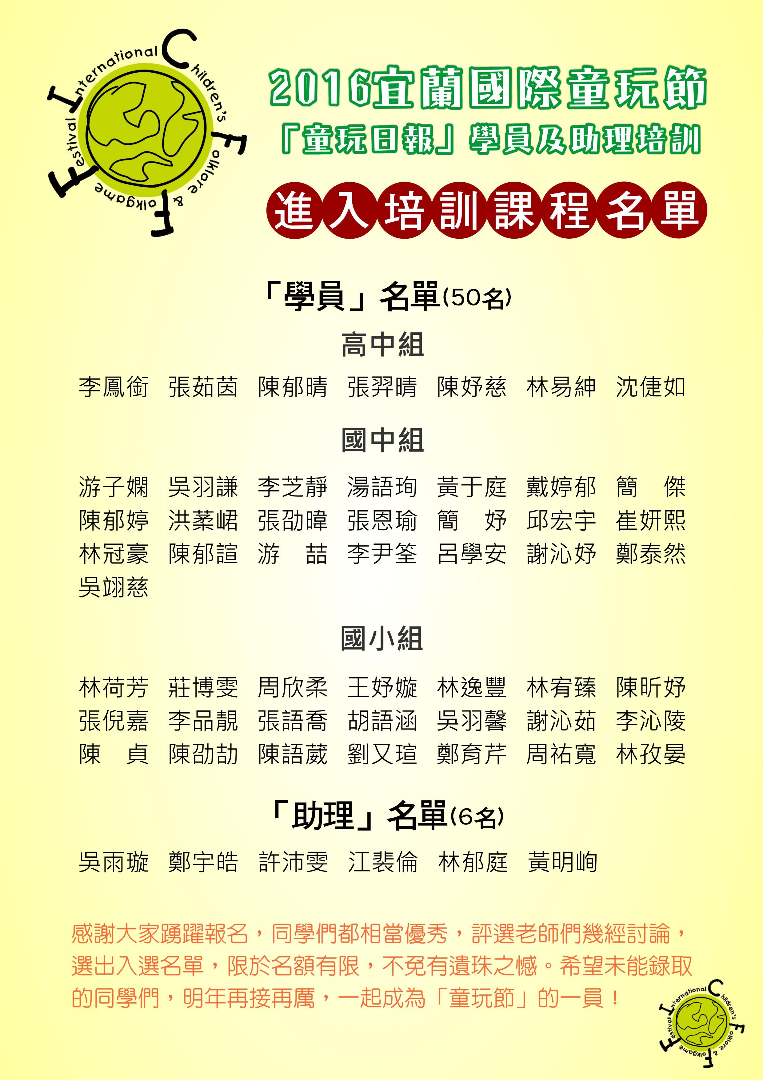 2016童玩節「童玩日報」學員及助理培訓名單