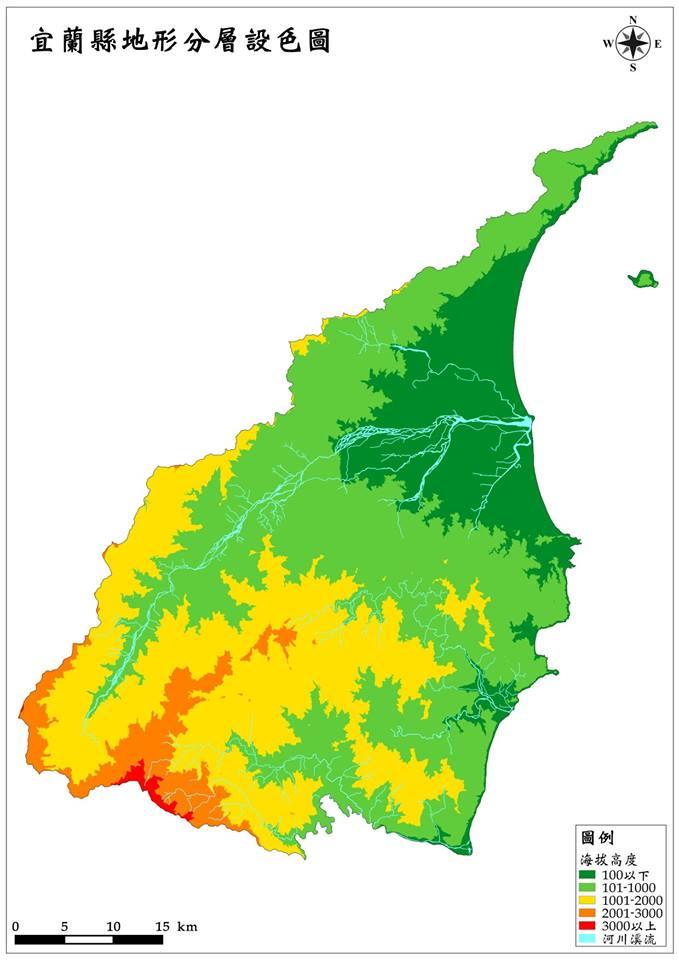 宜蘭縣分層設色附河川地圖