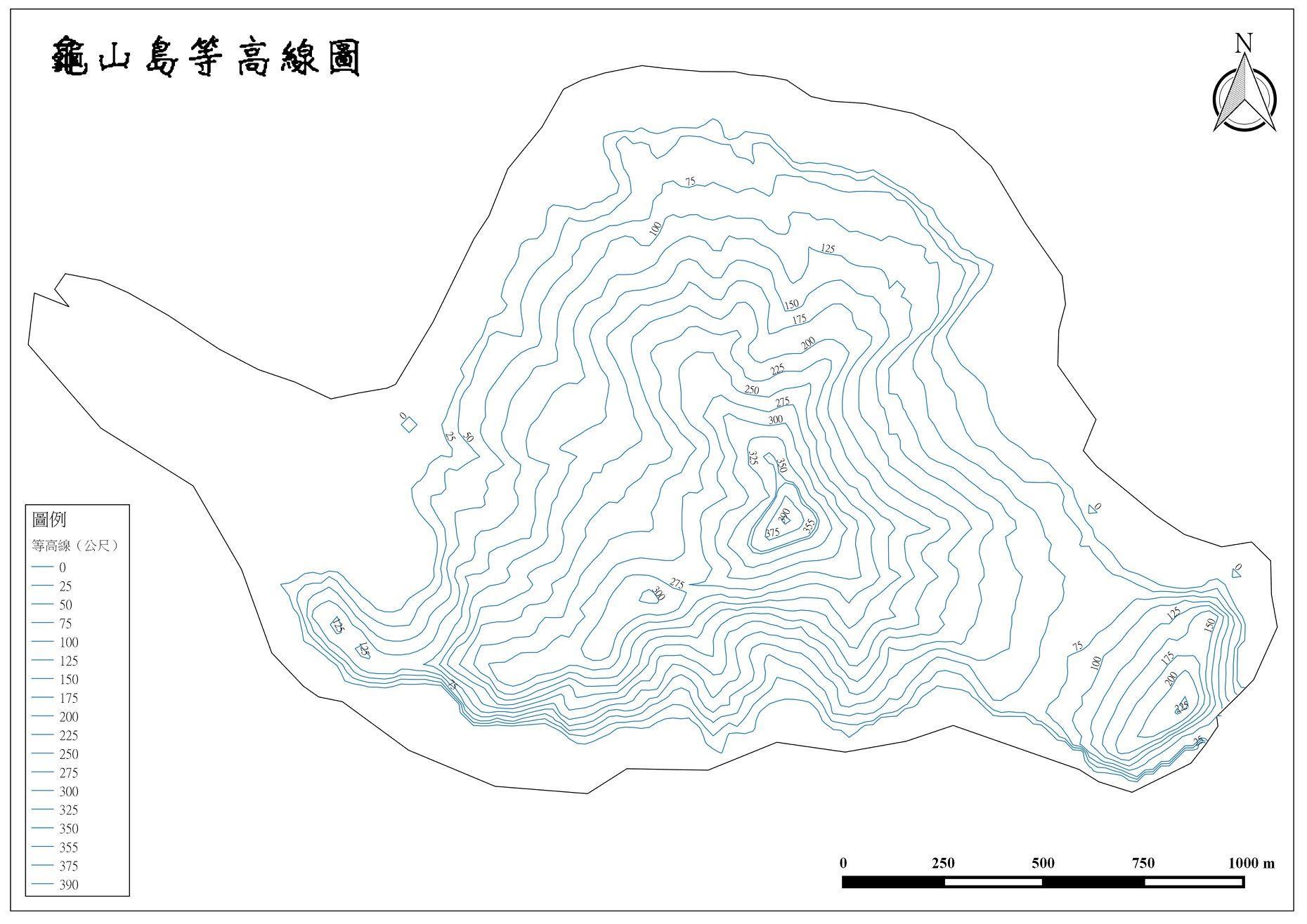 龜山島等高線圖